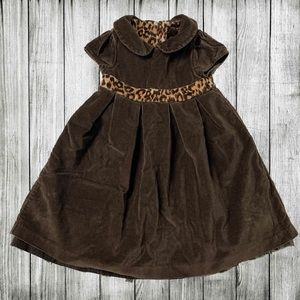 Baby Gap brown velvet dress with leopard waist 🥰